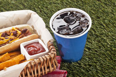 Snacks and cup of  cola Stock Image