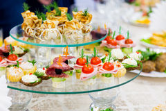 Snacks and delicacies at the Banquet or the reception. A gala reception Royalty Free Stock Photo