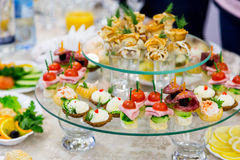 Snacks and delicacies at the Banquet or the reception. A gala reception Royalty Free Stock Images