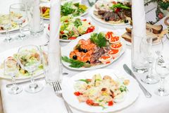 Snacks and delicacies at the Banquet table. Catering. Celebration or wedding. Buffet.  Stock Photography