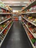 Snacks department in supermarket Stock Photos