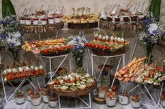 Snacks and desserts on the buffet table.  stock photography