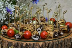 Snacks and desserts on the buffet table.  stock photos