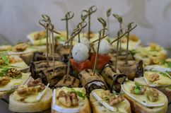 Snacks and desserts on the buffet table.  stock images