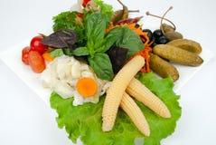 Snacks die op wit worden geïsoleerdl Stock Foto