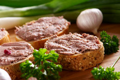 Snacks with different sort of meat and liver paste royalty free stock image