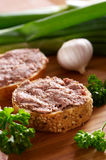 Snacks with different sort of meat and liver paste Royalty Free Stock Photos