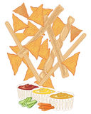 Snacks and dips. An illustaration of nacho and bread stick snacks with dips on a white background Stock Image