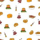 Snacks doodle pattern Stock Photography