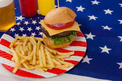 Snacks and drink  decorated with 4th july theme Stock Photos