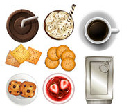 Snacks and drinks. Set of different drinks and snacks royalty free illustration