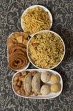 Snacks en snoepjes van het Diwali de de Indische voedsel royalty-vrije stock foto's