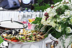Snacks on the festive table Royalty Free Stock Images