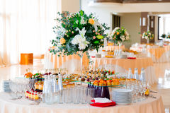 Snacks, fish and meat specialities on the buffet. Desserts. A gala reception. Served tables. Catering stock photography