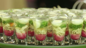 Snacks in glass stock footage