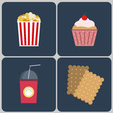 Snacks icon set Royalty Free Stock Photos