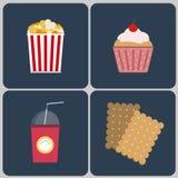 Snacks icon set Royalty Free Stock Photos