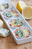 Snacks made of cheese and smoked salmon. Snacks made of cheese, blue cheese and smoked salmon Royalty Free Stock Photography