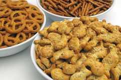 Snacks mix. Three different types, detail Royalty Free Stock Image
