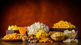 Snacks, Nuts and Popcorn royalty free stock photography