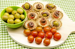Snacks of olives Stock Photos