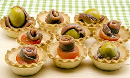 Snacks of olives Stock Photography