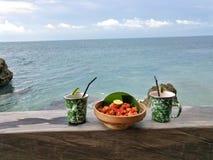 Snacks op het strand Royalty-vrije Stock Foto's