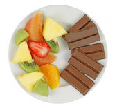 Snacks options. A plate containing two options for a tasteful snack-nutritional educative image Stock Photo