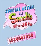 Snacks promotional sticker. Snacks promo sticker for cafe restaurant or store and set of numbers up to. Comic style handwritten lettering. Exclamation for sale vector illustration