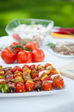 Snacks ready for garden party Royalty Free Stock Image