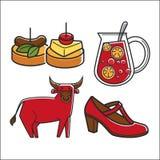 Snacks and refreshing drink. Vector illustration of small snacks and refreshing drink with bull and footwear Stock Image