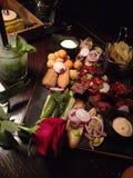 Snacks romantic diner stock photo