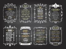Snacks, salads, desserts, soups, lokal wines and tea chalkboard menu list designs set. Hand drawn graphic illustration royalty free illustration