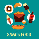 Snacks set with fast food elements Royalty Free Stock Image