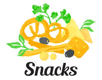 Snacks sticker. Vector illustration in watercolor style, for graphic and web design stock illustration