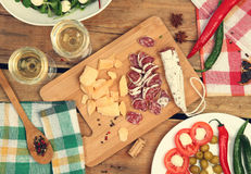Snacks on table Stock Images