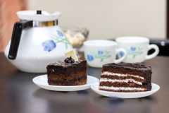 Snacks and tea, cake, breakfast Stock Photography