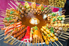 Snacks on thai open market stall Stock Image