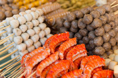 Snacks on thai open market stall Royalty Free Stock Photo