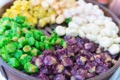 Snacks on thai open market stall Stock Photo