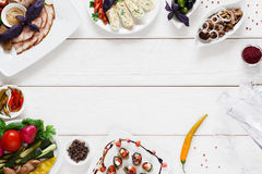 Snacks for traditional tableful, free space Stock Photography