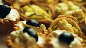 Snacks van kaas, deeg, knoflook, ingelegde komkommers en kaas close-up stock video