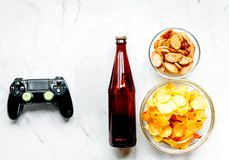 Snacks for video games on white background top view mock-up Stock Image