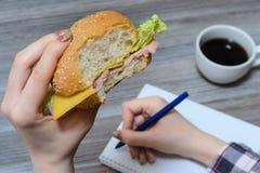 Snackvoedsel snel het eten het ideeconcept van de pogingsinspiratie Bebouwde dichte omhoog luchtfoto van dichte omhooggaande foto royalty-vrije stock foto
