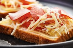 Snadwich closeup. Starting to cook hot sandwich with tomato , pepperoni and cheese closeup Stock Photos