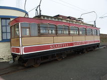 Snaefell Mountain Railway. Car at the top of Snaefell on the Isle of Man Stock Photos