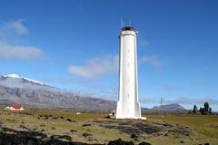 Snaefellsjokull灯塔在冰岛。 库存图片