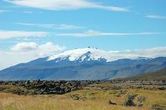 Snaefellsjokull berg på 1446 räkneverk höjd. fotografering för bildbyråer