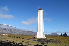 Snaefellsjokull fyr i Island. Fotografering för Bildbyråer
