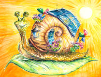 Snail. Happy snail in his eco-house.Picture  have created myself with watercolors and colored pencils Stock Photos